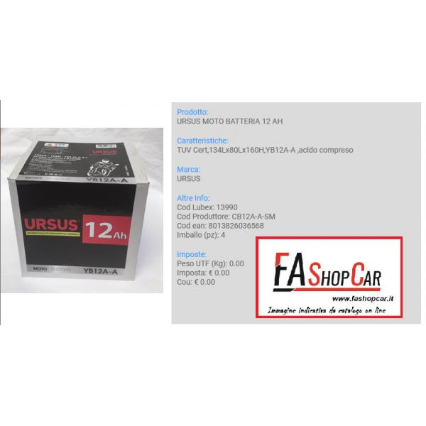 BATTERIA MOTO URSUS CB12a-a-sm -  12v 12AH -  YB12A-A - 13990
