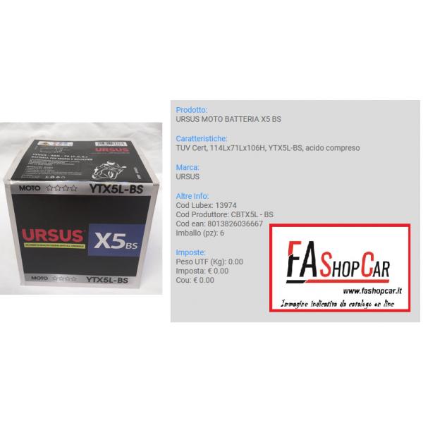 BATTERIA MOTO URSUS CBTX5L-BS  --- X5 BS ---  12v 5AH ---  (YTX5L-BS) - 13974