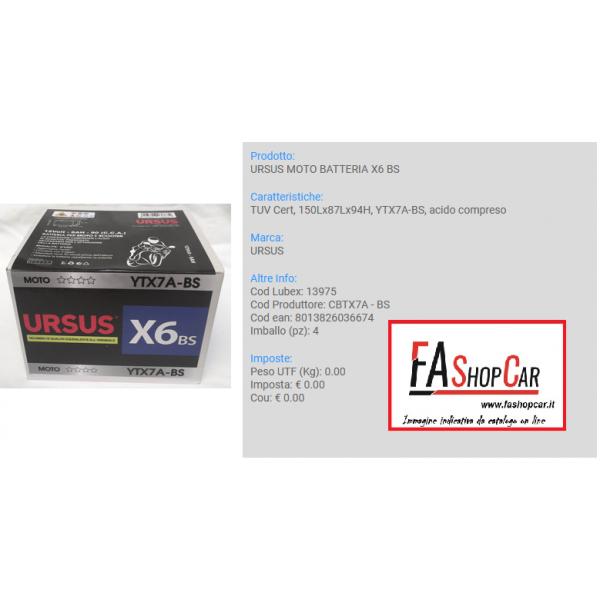 BATTERIA MOTO URSUS CBTX7L- BS  --- X6 BS ---  12v 6AH ---  (YTX7L-BS) - 13976
