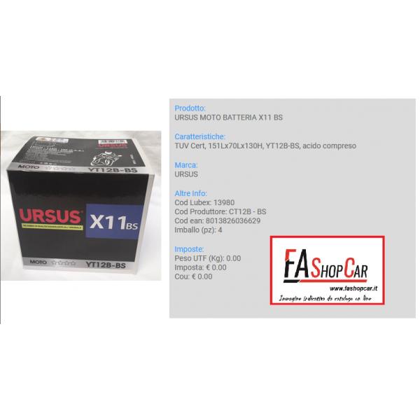 BATTERIA MOTO URSUS CT12B - BS  --- X11 BS ---  12v 11AH ---  (YT12B-BS) - 13980