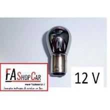 LAMPADA PR21W 12V P21W ARGENTATA ROSSA SILVER BA15S - F201266SR