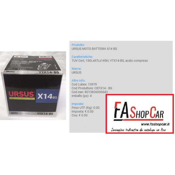 BATTERIA MOTO URSUS CBTX14 - BS  --- X14 BS ---  12v 14AH ---  (YTX14-BS) - 13979
